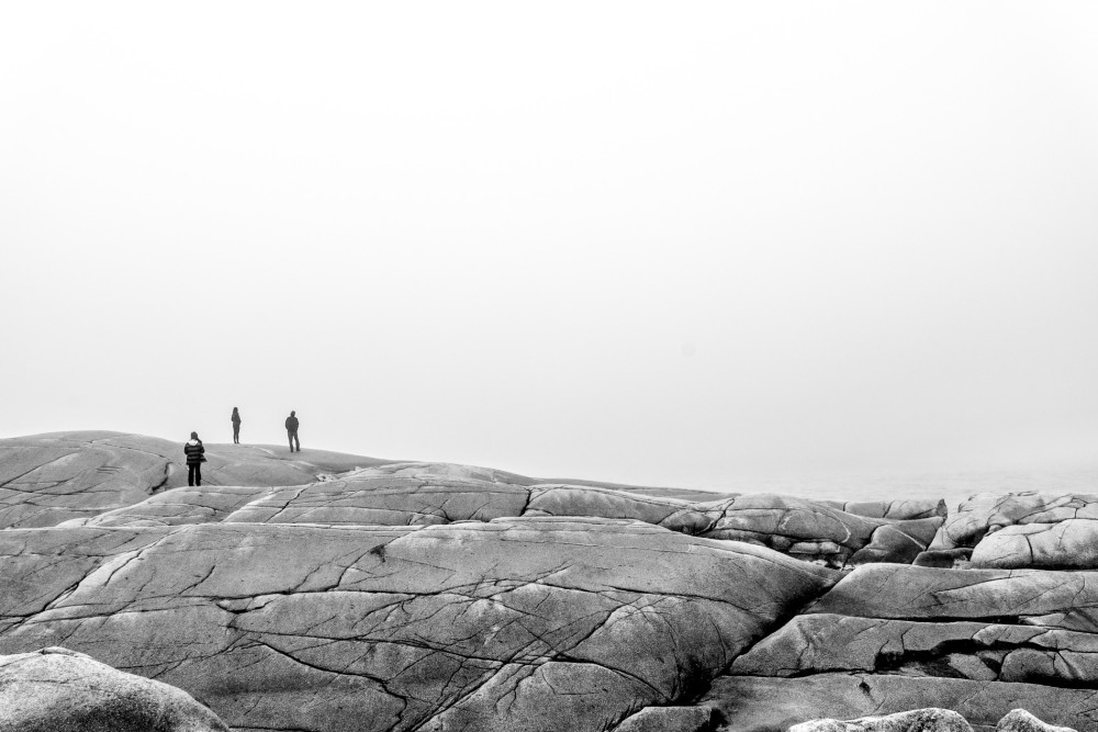 Fog shrouds the granite rocks at Peggy's Cove by Picture Perfect Tours